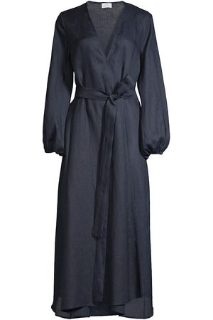 POUR LES FEMMES Women Dresses - Women's Linen Wrap Dress - Midnight - Size XS
