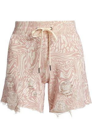 N:philanthropy Women Shorts - Women's Coco Swirled Distressed Shorts - Mauve Leopard Daze - Size XS