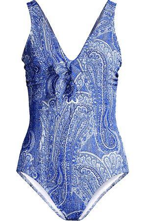 Shoshanna Women Swimsuits - Women's Paisley Lace-Up One-Piece Swimsuit - Denim - Size 10