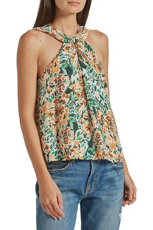 Joie Women's Malta Printed Silk Halter Top - Porcelain - Size Medium