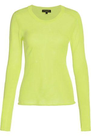 RAG&BONE Women Hoodies - Women's Ola Crewneck Sweater - Lime - Size XL