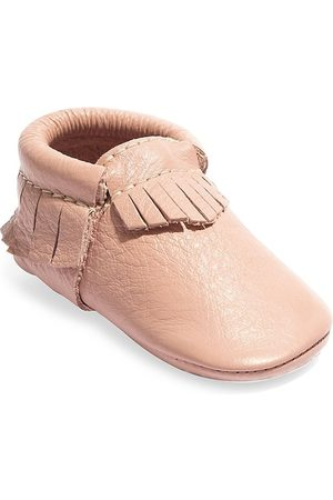 Freshly Picked Girls Loafers - Baby Girl's Classic Leather Moccasins - Blush - Size 4 (Baby)