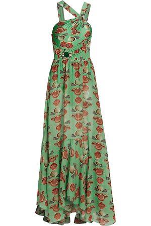 PATBO Women Asymmetrical Dresses - Women's Seashell Asymmetric Maxi Dress - Sea - Size Large