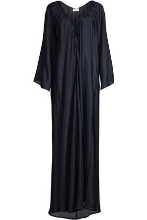 POUR LES FEMMES Women Dresses - Women's Roman Long-Sleeve Silk Dress - Midnight - Size Small
