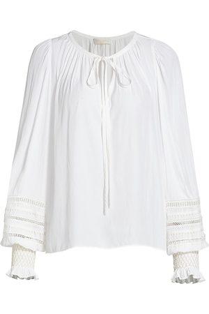 Ramy Brook Women T-shirts - Women's Henri Blouson-Sleeve Embroidered Top - Ivory - Size XXS