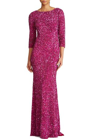 THEIA Women's Three-Quarter Sleeve Sequin Sheath Gown - Orchid - Size 8