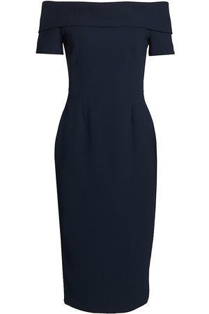 Catherine Regehr Women Strapless Dresses - Women's Alice Off-The-Shoulder Crepe Cocktail Dress - Navy - Size 16