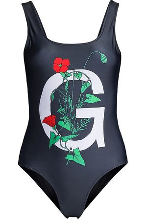 Ganni Women's Placement Printed One-Piece Swimsuit - Phantom - Size 4