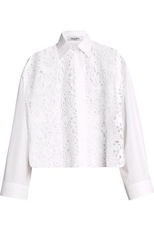 VALENTINO Women Shirts - Women's Macrame Blossom Techno-Poplin Shirt - Bianco - Size 8