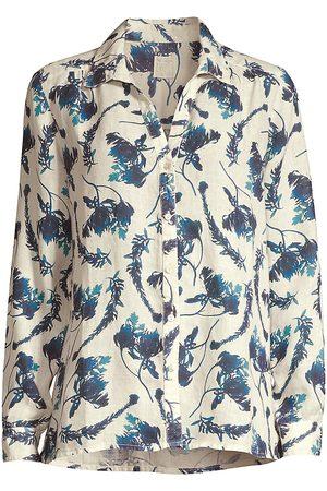 120% Lino Women Shirts - 120% Lino Women's Floral-Print Button-Down Linen Shirt - Ice - Size XXL