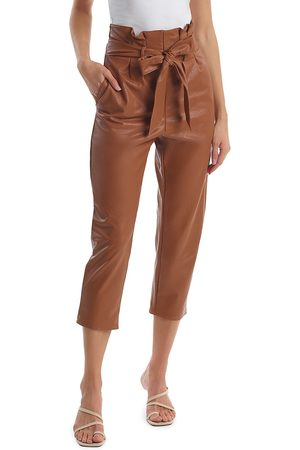 Commando Women Leather Pants - Women's Faux Leather Paperbag Pants - Cocoa - Size Small