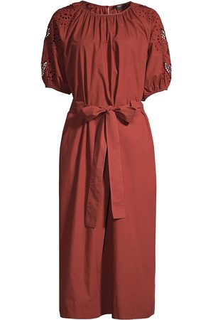 SEVENTY BY SERGIO TEGON Women Midi Dresses - Women's Eyelet Sleeve Belted Midi Dress - Arancione - Size 4