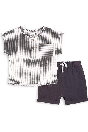 FIRSTS by petit lem Petit Lem Firsts Baby Boy's Monaco 2-Piece Top & Shorts Set - Dark Grey - Size 24 Months