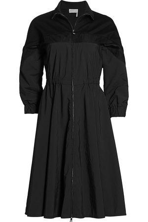 Moncler Women Dresses - Women's Mixed-Media Zip-Front Dress - - Size 4