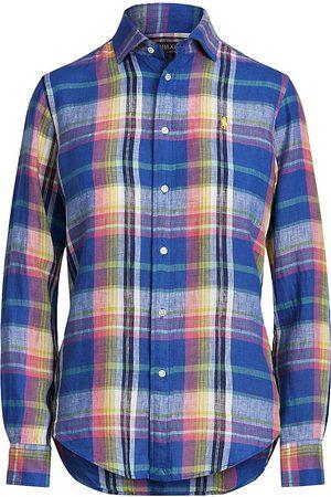 Polo Ralph Lauren Women Polo Shirts - Women's Plaid Button-Up Linen Shirt - - Size XL