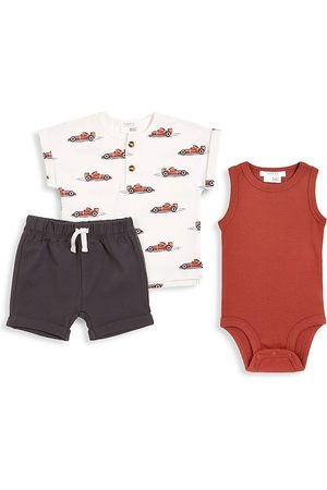 FIRSTS by petit lem Boys Sets - Baby Boy's Firsts 3-Piece Top, Bodysuit, & Shorts Set - Size 18 Months