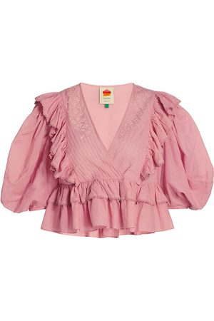 Farm Rio Women's Puff-Sleeve Ruffle Cotton Blouse - Blush - Size Large