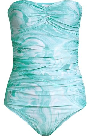 Ganni Women Swimsuits - Women's Strapless Ruched One-Piece Swimsuit - Bachelor - Size 8