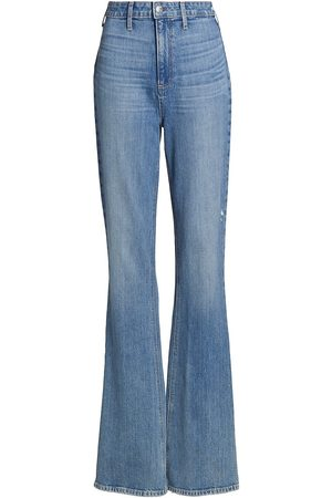 Paige Women High Waisted - Women's Laurel Canyon Clean Front Ultra High-Rise Flare Jeans - Skya Distressed - Size 29