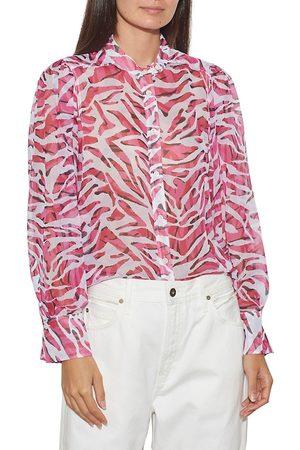 Equipment Women Shirts - Women's Chayce Printed Silk Shirt - Sangria Multi - Size XS