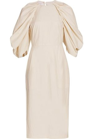 Deveaux New York Women's Sasha Drape-Sleeve Midi Dress - Ecru - Size 2