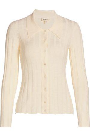 L'Agence Women Hoodies - Women's Naya Collar Sweater - Ivory - Size XS