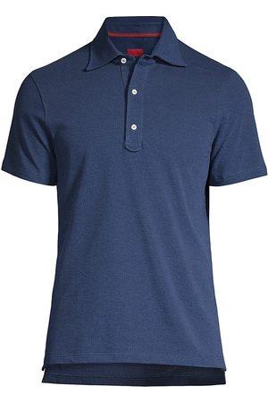 ISAIA Men Polo Shirts - Men's Short-Sleeve Cotton Polo - Navy - Size XXL