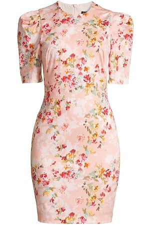Black Halo Women Printed Dresses - Women's Pippa Floral Sheath Dress - Peachy Petals - Size 12