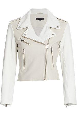 LaMarque Women Leather Jackets - Women's Antea Leather Moto Jacket - Light Grey - Size Large