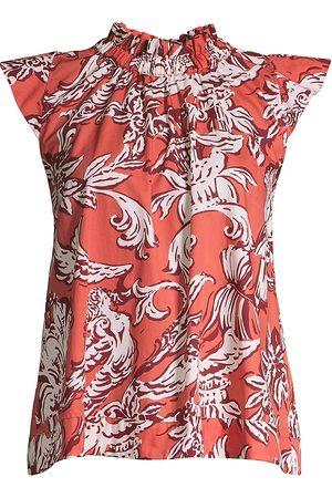 SEVENTY BY SERGIO TEGON Women Tops - Women's Ruffle Neck Floral Poplin Top - Arancio - Size 14