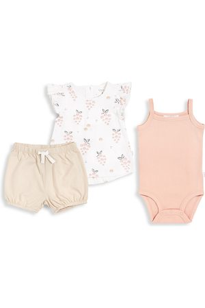 FIRSTS by petit lem Girls Sets - Baby Girl's Firsts 3-Piece Top, Bodysuit, & Shorts Set - Off - Size 24 Months