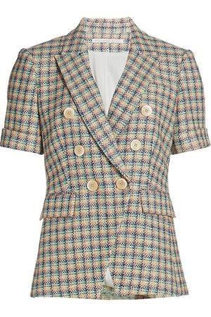VERONICA BEARD Women Jackets - Women's Jenny Short-Sleeve Double-Breasted Tweed Jacket - Size 14