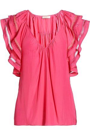 Ramy Brook Women's Merrit Flutter-Sleeve Embroidered Top - Rose - Size XL