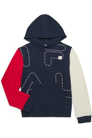 Fila Boy's Colorblock Logo Fleece Hoodie - Navy - Size 16