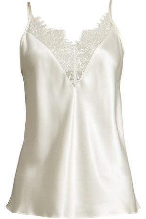 GINIA Women Socks - Women's Lace-Trim Silk Camisole - Ivory - Size XS