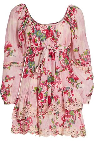 LOVESHACKFANCY Women's Pineville Pond Cotton Ambrosia Floral Silk-Blend Mini A-Line Dress - Desert - Size 10