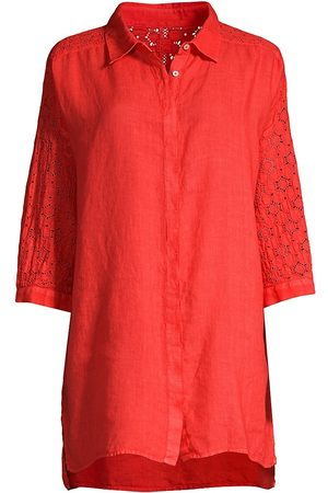 120% Lino 120% Lino Women's Relaxed-Fit Embroidered Linen Shirt - Tulip - Size Large