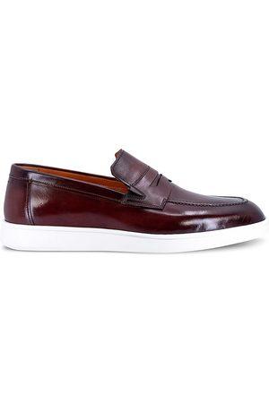 santoni Men's Leather Penny Loafers - Burgundy - Size 10.5