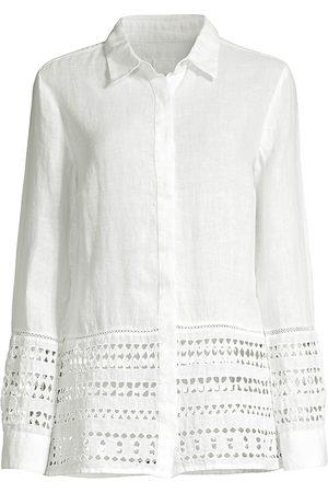 120% Lino 120% Lino Women's Embroidered Hem Linen Shirt - - Size Small