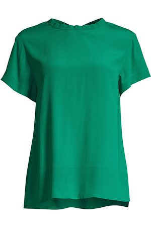 SEVENTY BY SERGIO TEGON Women's Stretch Silk Crepe Short-Sleeve Top - Verde - Size 12