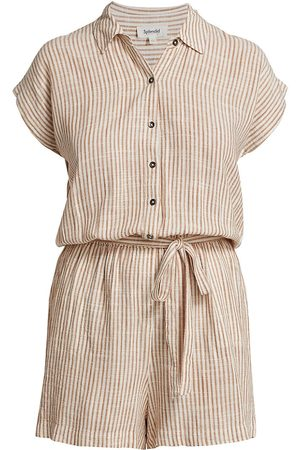 Splendid Women's Pueblo Stripe Linen-Blend Romper - Terracotta - Size Medium