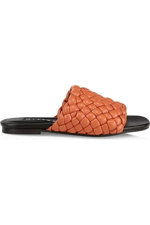 SIMON MILLER Women's Woven Vegan Leather Slides - Spice - Size 7 Sandals
