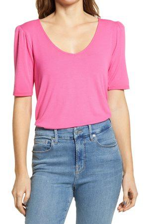 GIBSONLOOK Women's Puff Shoulder V-Neck T-Shirt