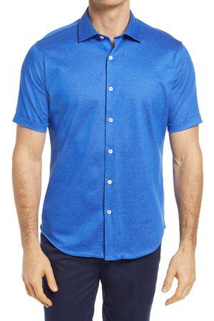 Bugatchi Men's Short Sleeve Knit Button-Up Shirt