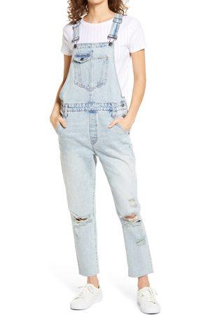 Hidden Jeans Women's Boyfriend Ripped Denim Overalls