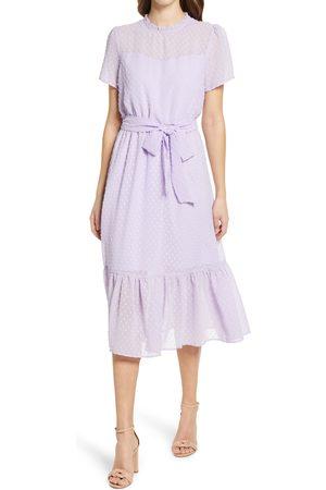 GIBSONLOOK Women's Belted Swiss Dot Midi Dress