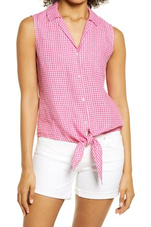 Tommy Bahama Women's Gingham Check Linen Tie Front Top