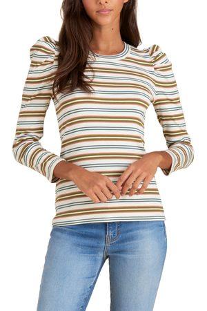 VERONICA BEARD Women's Britney Stripe Long Puff Sleeve Stretch Cotton Top