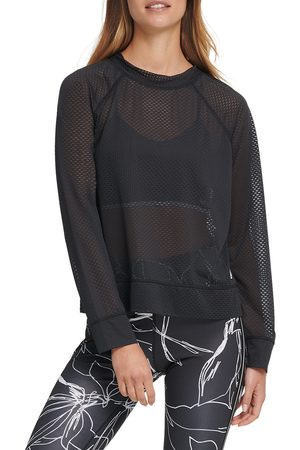 DKNY Women's Mesh Crewneck Top