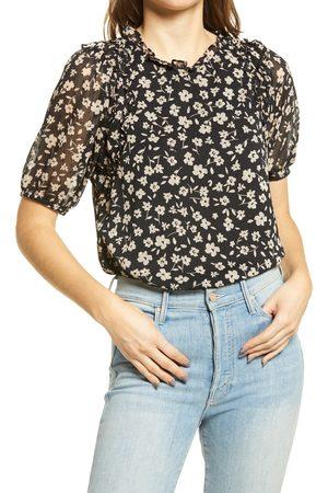 GIBSONLOOK Women's Floral Puff Sleeve Swiss Dot Chiffon Top